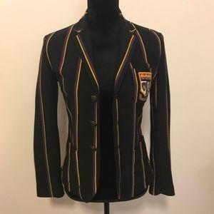 Rugby Ralph Lauren Black Striped Knit Blazer Small
